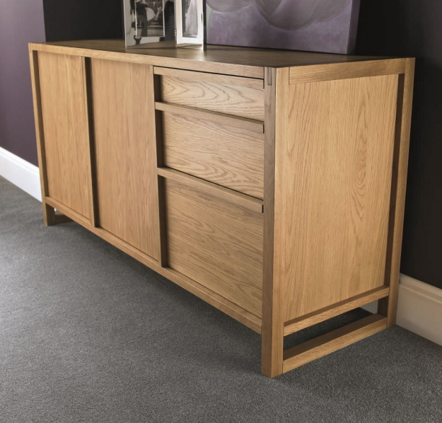Bentley Designs Studio Oak Sideboard - Large Wide 2 Door