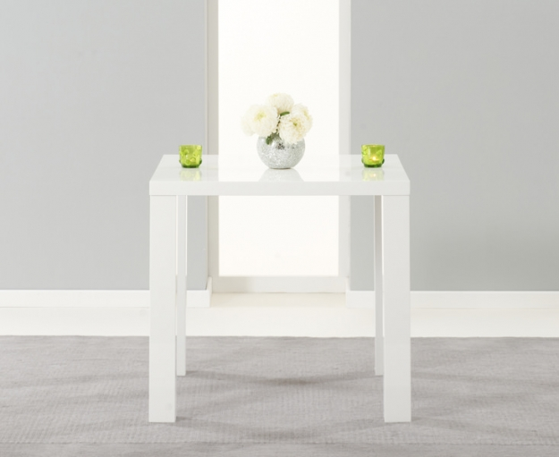 Mark Harris Ava White High Gloss Dining Set - 80cm with 2 Black Carsen Chairs