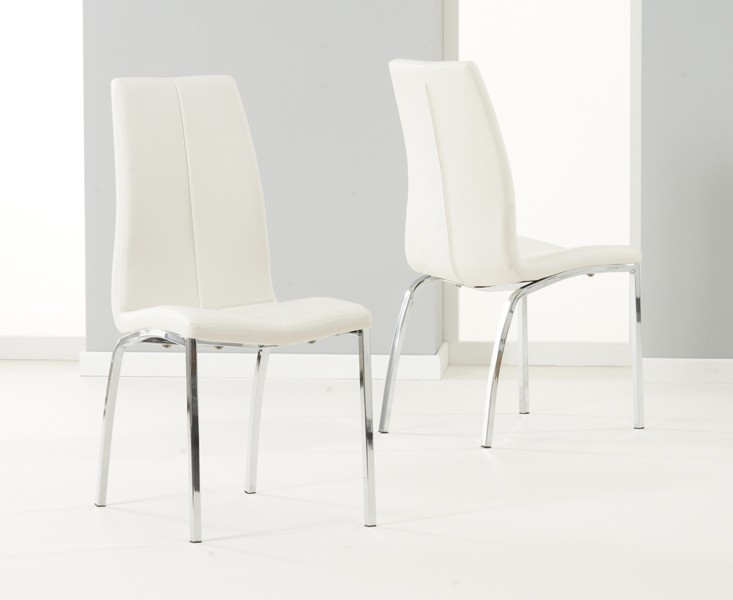 Mark Harris Ava White High Gloss Dining Set - 80cm with 2 Ivory Carsen Chairs