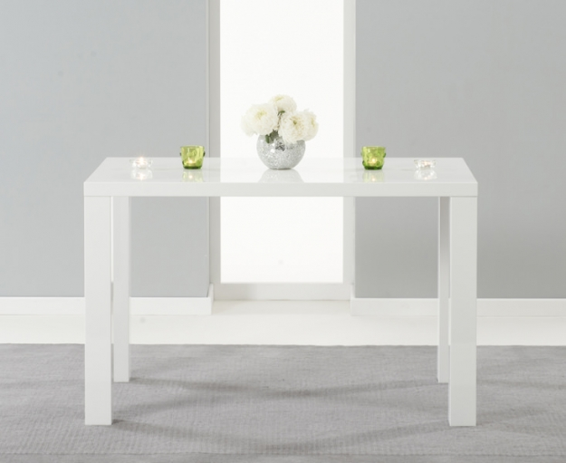 Mark Harris Ava White High Gloss Dining Set 120cm with 4 Ivory Carsen Dining Chairs