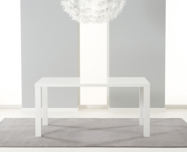 Mark Harris Ava White High Gloss Dining Set 160cm with 4 Grey Carsen Dining Chairs