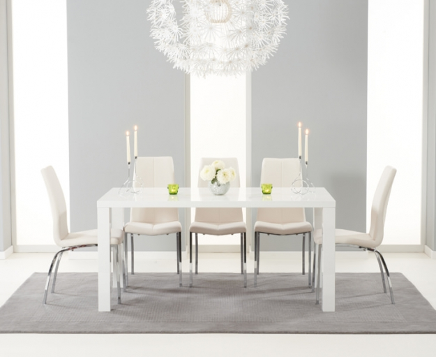 Mark Harris Ava White High Gloss Dining Set 160cm with 4 Ivory Carsen Dining Chairs