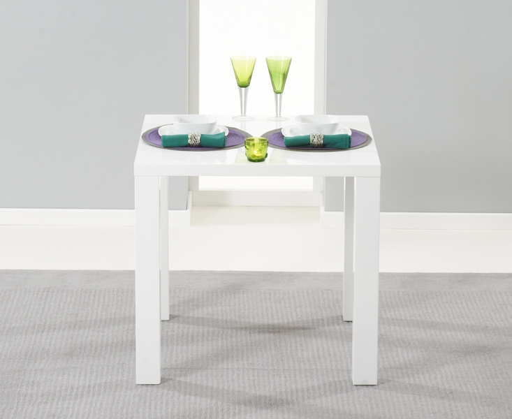 Mark Harris Hereford White High Gloss Square Dining Table and 2 Malibu Black Chairs
