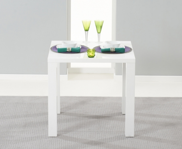 Mark Harris Hereford White High Gloss Dining Set - with 2 White Malibu Chairs