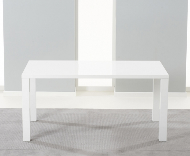 Mark Harris Hereford White High Gloss Dining Set with 4 Black Malibu Dining Chairs