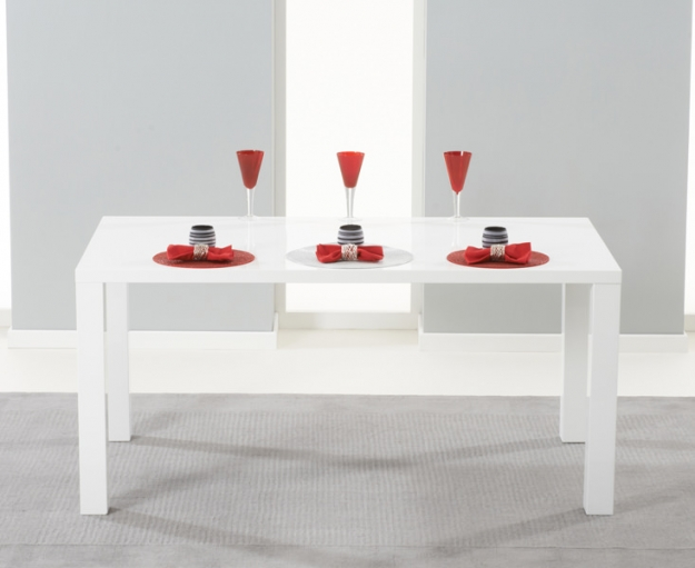 Mark Harris Hereford White High Gloss Dining Set - with 4 Red Malibu Chairs