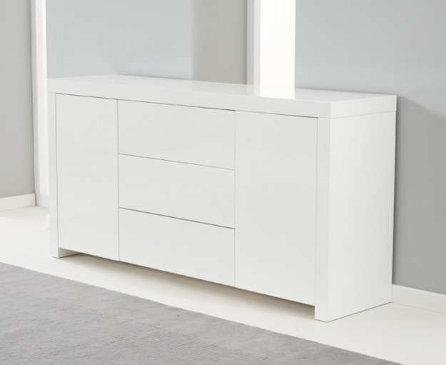 Mark Harris Hereford White High Gloss Sideboard - 2 Doors 3 Drawers