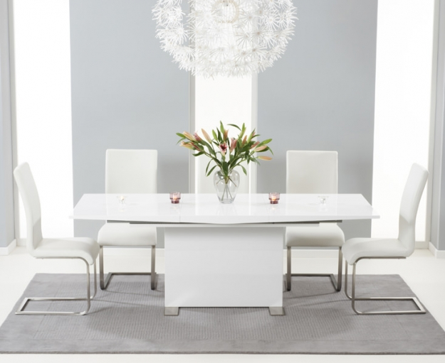 Mark Harris Marila White High Gloss Extending Dining Table