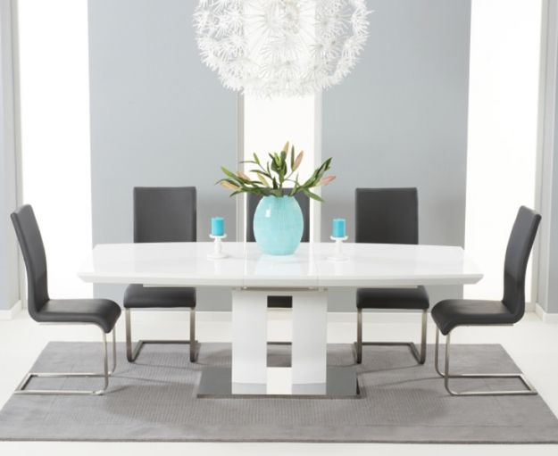 Mark Harris Rossini White High Gloss Extending Dining Table - 180cm-220cm