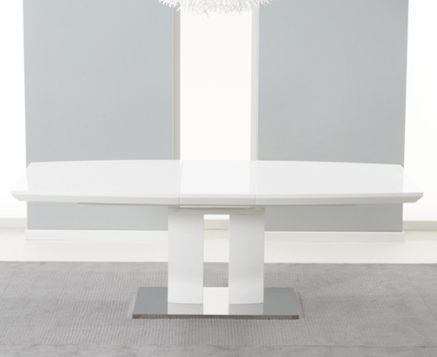 Mark Harris Rossini White High Gloss Extending Dining Set with 6 White Malibu Dining Chairs