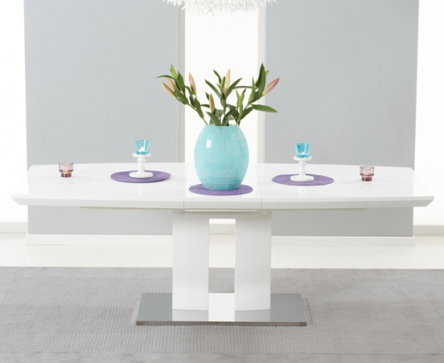 Mark Harris Rossini White High Gloss Extending Dining Set with 6 Red Malibu Dining Chairs