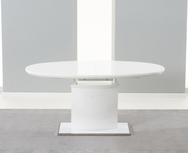 Mark Harris Seville White High Gloss Extending Dining Set with 6 White Hereford Dining Chairs