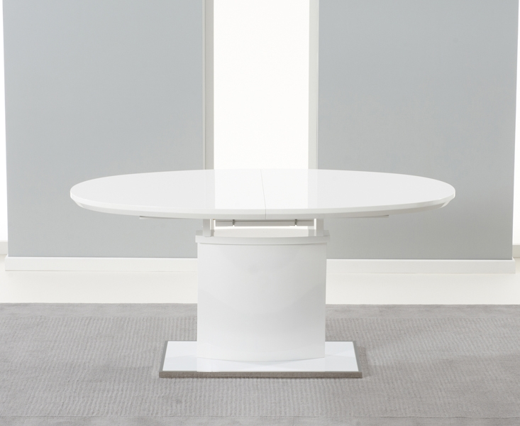 Mark Harris Seville White High Gloss Butterfly Extending Dining Table and 6 Malibu Ivory Chairs