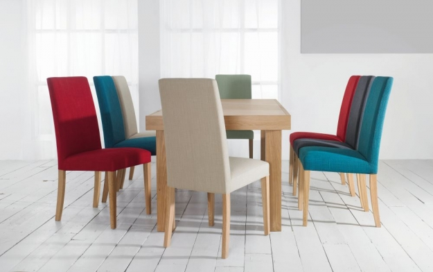 Bentley Designs Miles Oak Dining Chair - Aqua Taper Back (Pair)