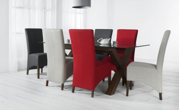Bentley Designs Nina Walnut Dining Chair - Red Wing Back (Pair)