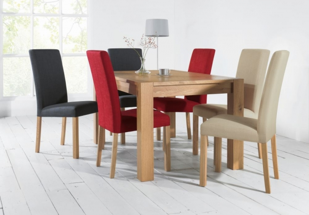 Bentley Designs Parker Oak Dining Chair - Red Square Back (Pair)