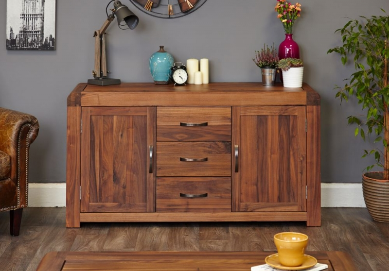 Baumhaus Shiro Walnut 2 Door 3 Drawer Sideboard