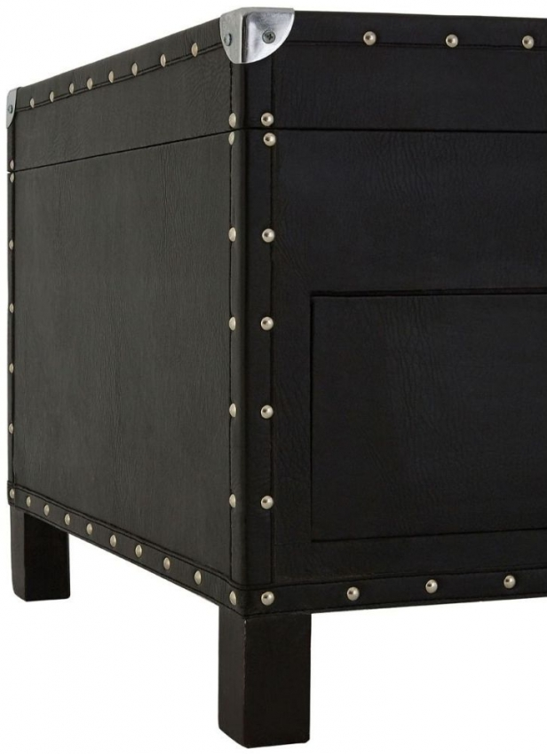 Sloane Black Faux Leather Storage Coffee Table