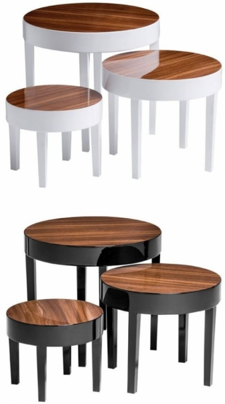 Moritz Nest of 3 Tables - Black High Gloss and Pinewood