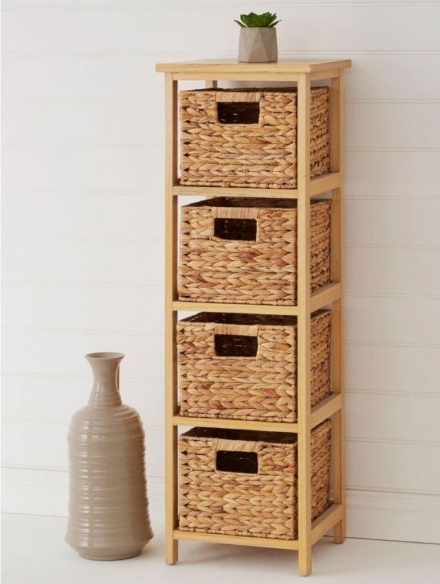 Padstow 4 Drawer Natural Frame Storage Unit