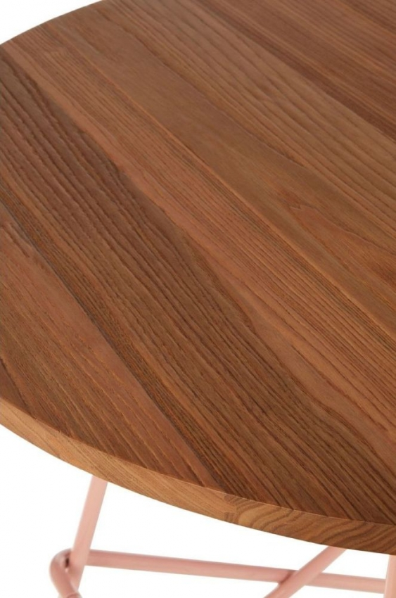 District Pink Metal and Elm Wood Round Bar Table