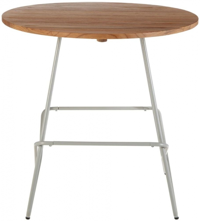 District Grey Metal and Elm Wood Round Bar Table