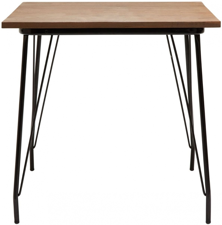 District Square Bar Table - Black Metal and Elm Wood
