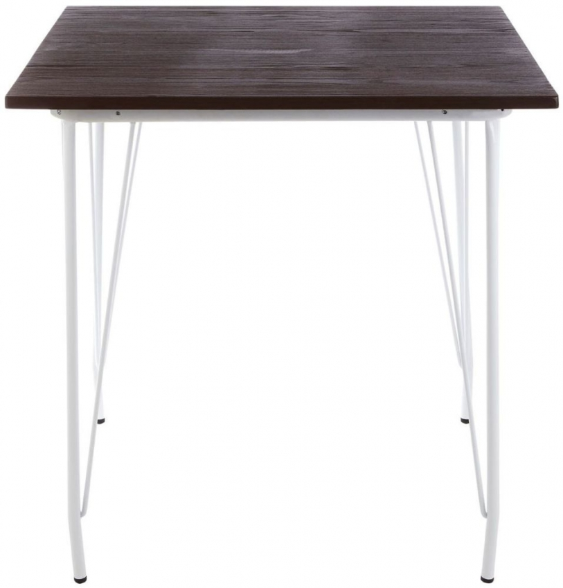 District White Metal and Elm Wood Square Bar Table