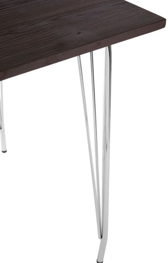District Chrome Metal and Elm Wood Square Bar Table