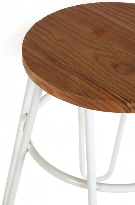 District Hairpin Bar Stool - White Metal and Elm Wood