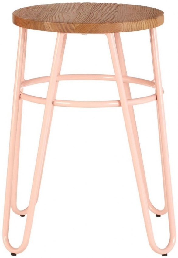 District Hairpin Bar Stool - Pink Metal and Elm Wood
