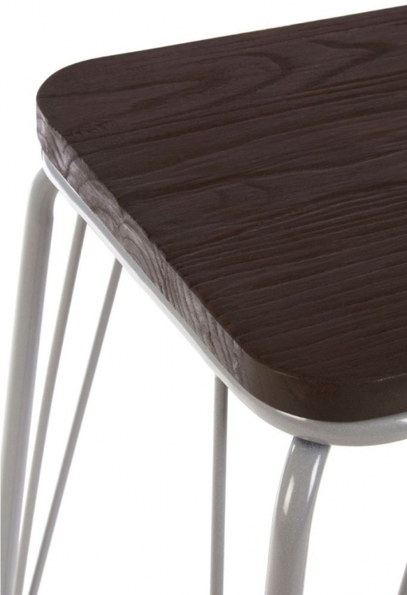 District Grey Metal and Elm Small Wood Bar Stool