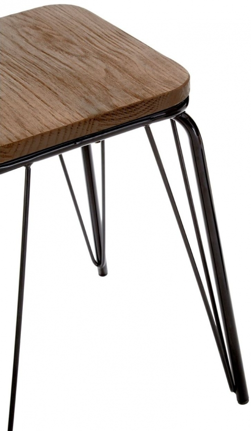 District Bar Stool - Black Metal and Elm Wood
