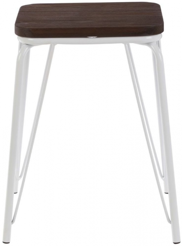 District Bar Stool - White Metal and Elm Wood