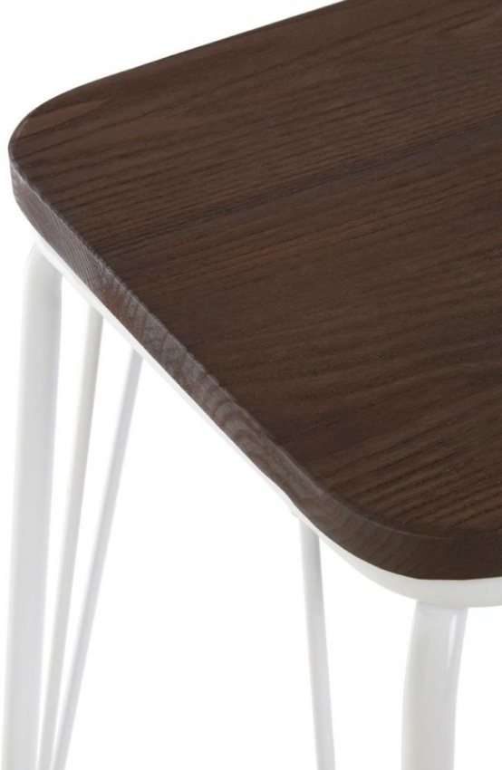 District White Metal and Elm Small Wood Bar Stool