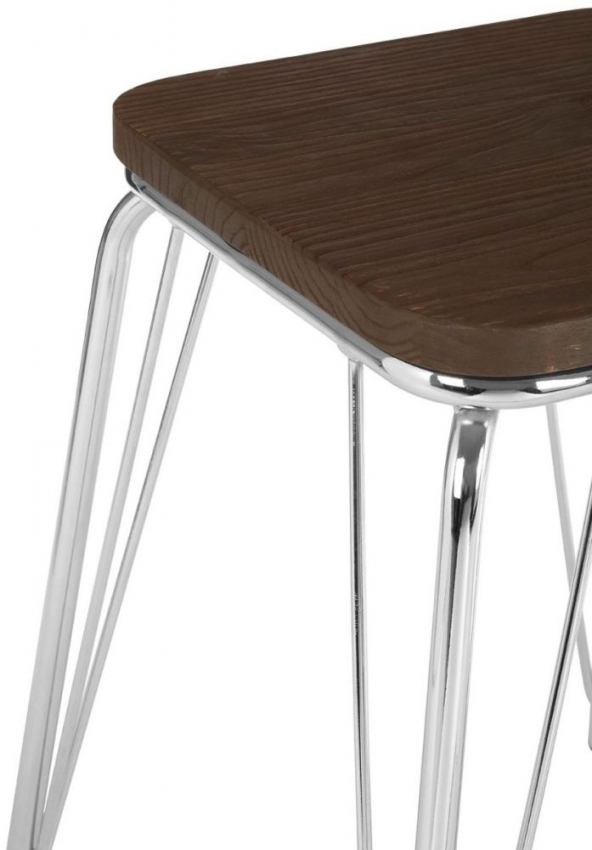 District Chrome Metal and Elm Small Wood Bar Stool