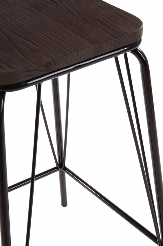 District Black Metal and Elm Wood Bar Stool