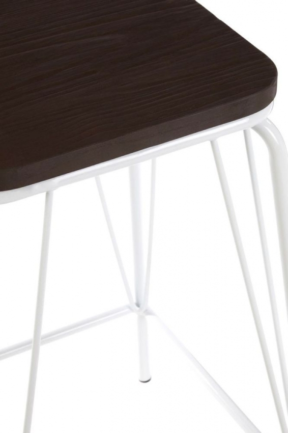 District White Metal and Elm Wood Bar Stool