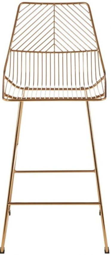 District Gold Metal Wire Tapered Tall Bar Chair