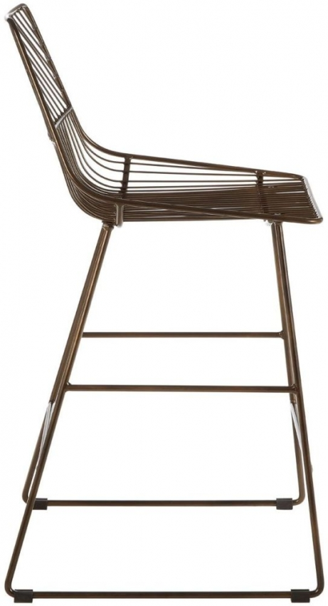 District Bronze Metal Wire Tapered Bar Chair