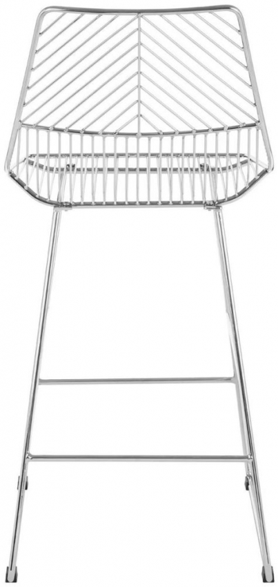 District Chrome Metal Wire Tapered Bar Chair