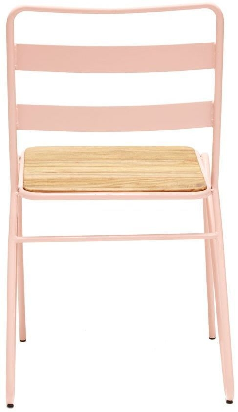 District Dining Chair (Pair) - Pink Metal and Elm Wood