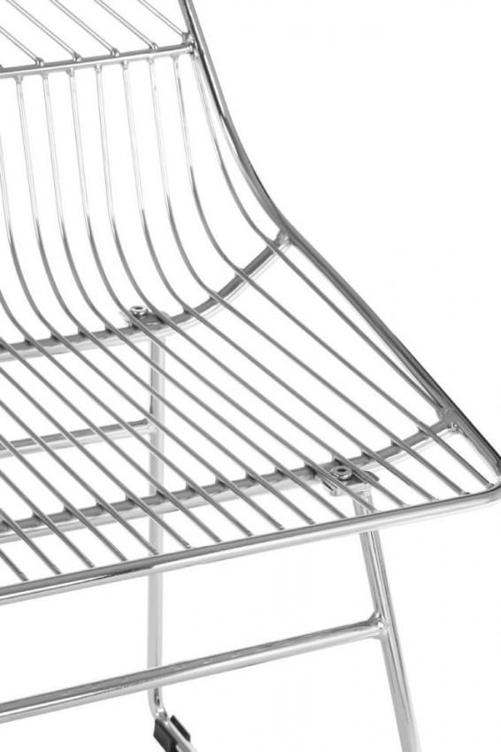 District Chrome Metal Tapered Wire Chair