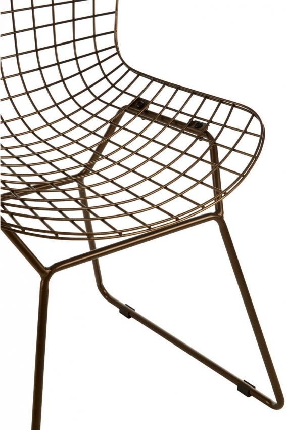 District Bronze Metal Wire Grid Chair