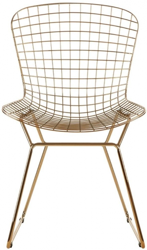 District Gold Metal Wire Grid Chair