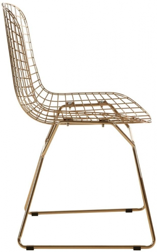 District Gold Metal Grid Frame Wire Chair