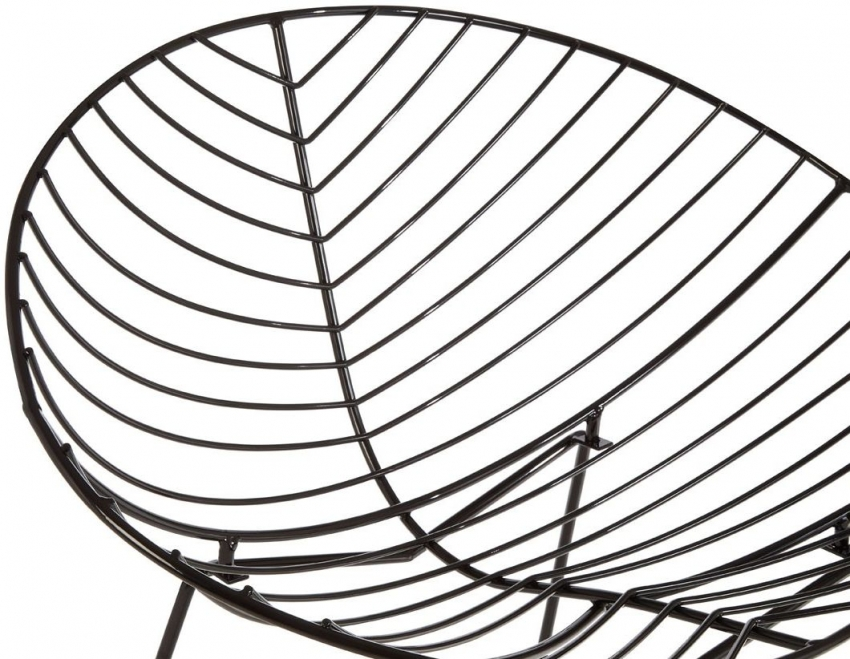 District Black Metal Rounded Wire Chair