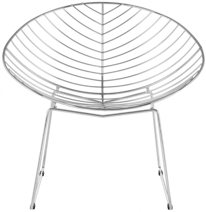 District Chrome Metal Wire Rounded Chair