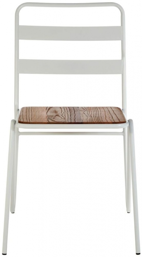 District White Metal and Elm Wood Chair