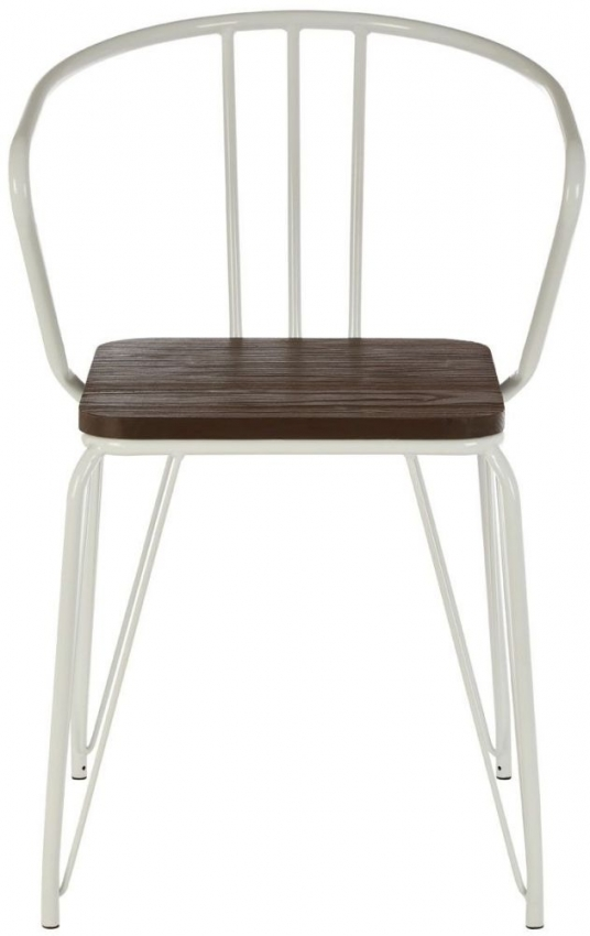 District White Metal and Elm Wood Armchair (Pair)
